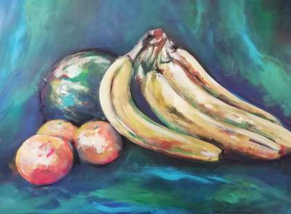 Still life in acrylic and soft pastels
