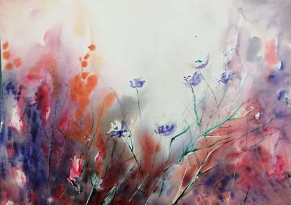 Watercolour paint, flowers were masked with masking fluid.