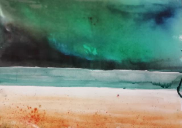 Sky painted with Brusho. Beach and water using watercolour.