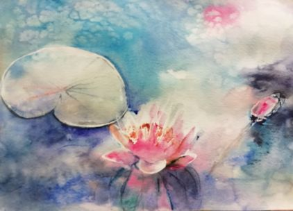 Watercolour, masking fluid, salt