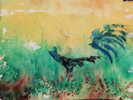 Brusho background and acrylic applied with a palette knife